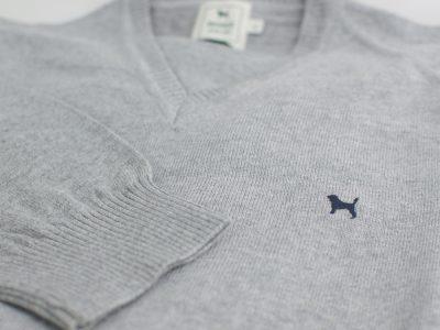 The Cashmere Cotton Blend V Neck Gris Perla