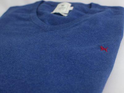 The Cashmere Cotton Blend V Neck Índigo
